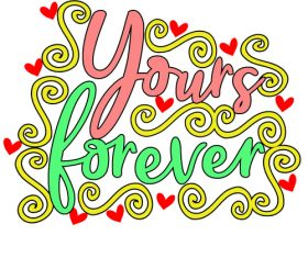 Handwritten decorative valentine day card vector