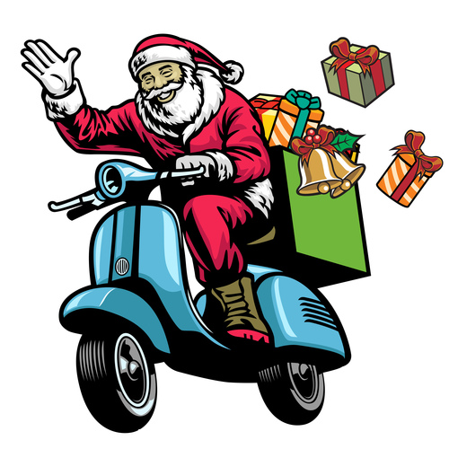 Happy Santa Claus giving a gift vector