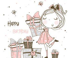 Happy birthday cartoon background illustration vector