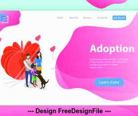 Happy family flat isometric vector 3d concept illustration