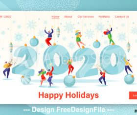 Happy holiday flat characters website layout vector