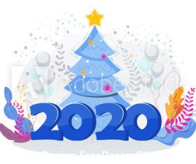 Happy new year 2020 cartoon illustration vector