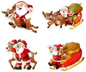 Happy santa and elk sleigh vector