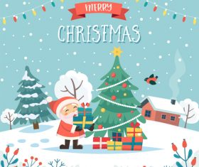 Happy santa claus and christmas tree cartoon vector illustration