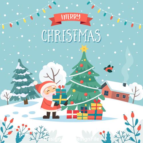 Happy santa claus and christmas tree cartoon vector illustration