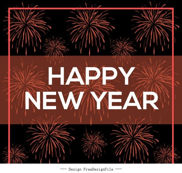 Happy new year writing and dark background vectors material