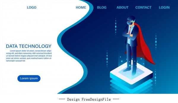 Businessman with technology web header template flat isometric vector