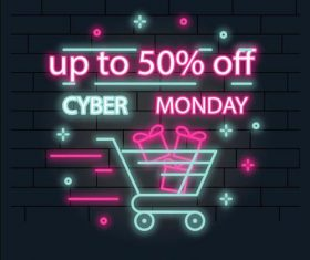 High discount sale colorful neon brand vector