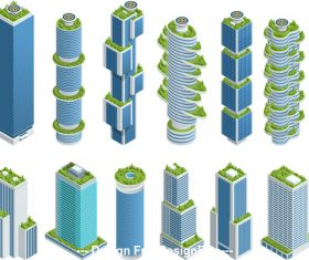 High-rise building construction vector