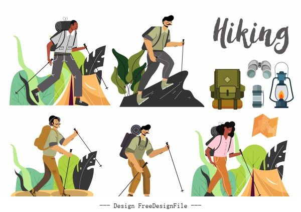 Hiking icons cartoon characters vector design