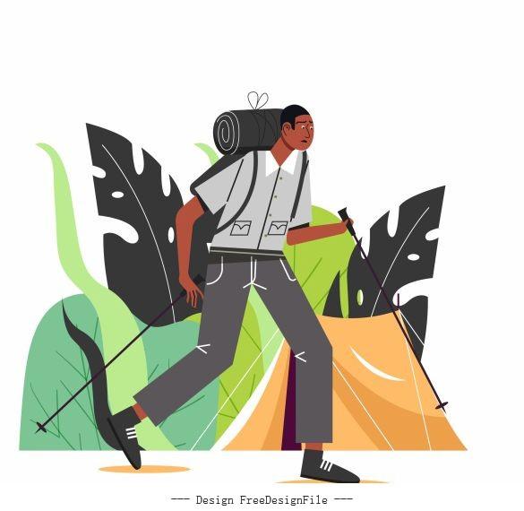 Hiking man cartoon character vector
