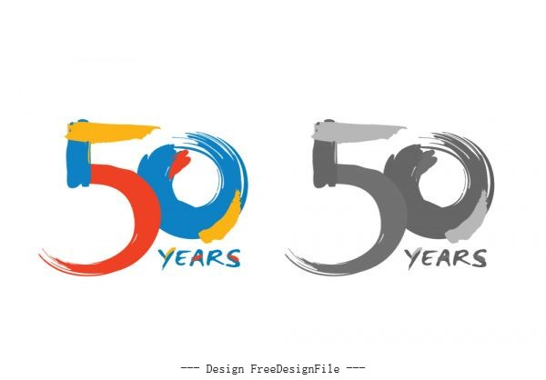 Historical 50 years stock graphic vector