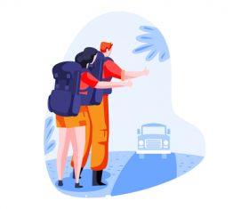Hitchhiking cartoon vector