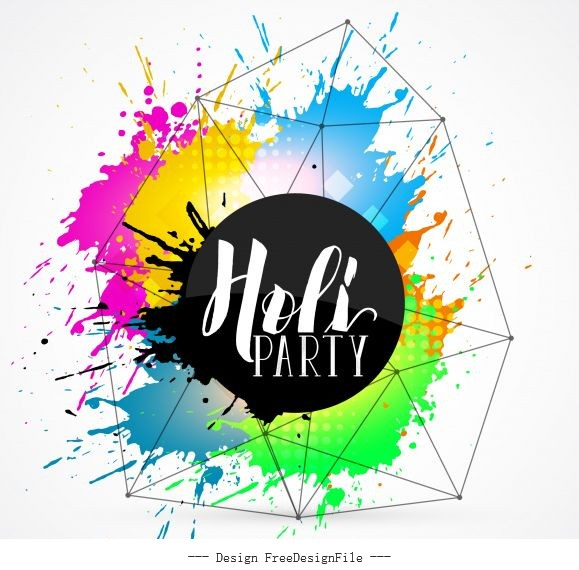 Holi party background colorful scattered grunge vector