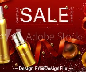 Holiday cosmetics promotion advertising poster vector