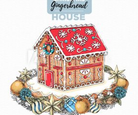 Holiday gingerbread house hand drawn illustration vector