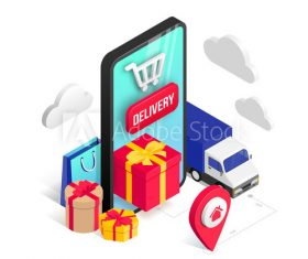 Holiday mobile shopping online vector
