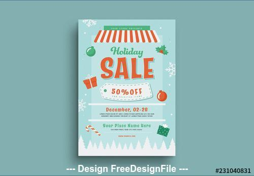 Holiday sale flyer vector