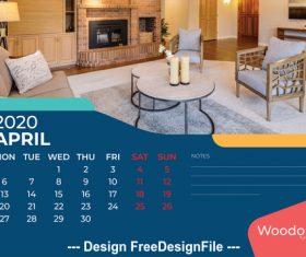 Home background calendar 2020 vector 01