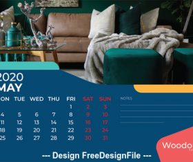 Home background calendar 2020 vector 02