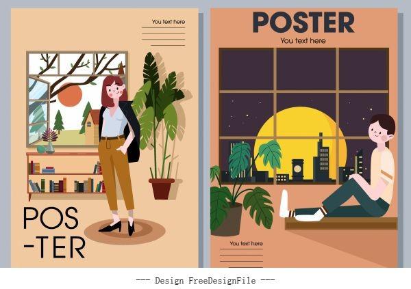 Home decor posters furniture person cartoon vector