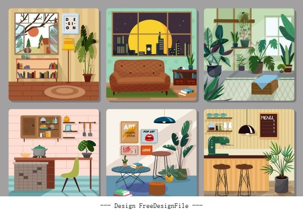 Home furniture decor template colorful cosy vector