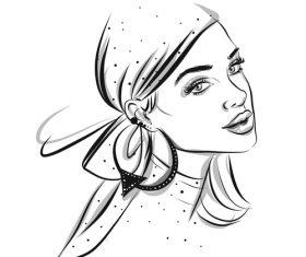 Hooded female portrait sketch vector