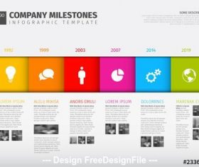Horizontal six step infographic layout vector