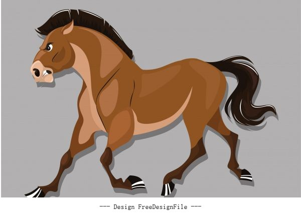 Horse colored cartoon vector