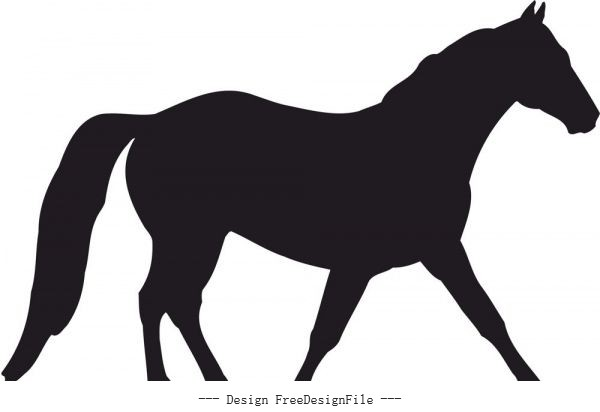 Horse silhouette free cdrs art vector material