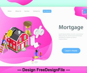 House mortgage plane isometric vector 3d concept illustration