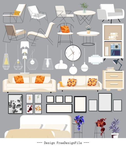 House furnitures icons contemporary vector