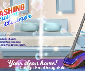 Household vacuum cleaner ad vector