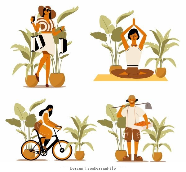 Human activities icons shopping yoga cycling farming vector material