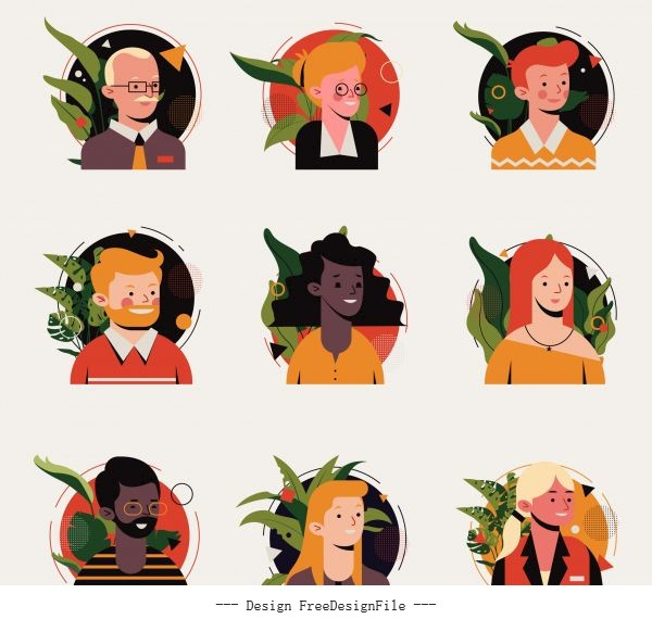 Human avatar icons colored cartoon characters vector