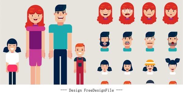 Human face avatars funny cartoon vector design