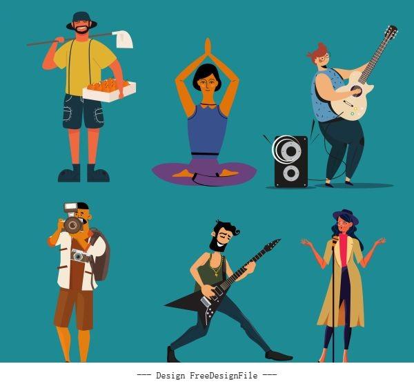 Human job icons colored cartoon characters sketch vectors
