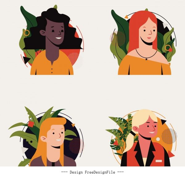 Human portrait avatar icons women face vector