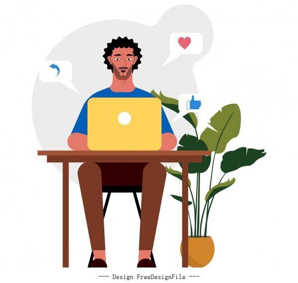 Human work icon man laptop desk sketch vectors material