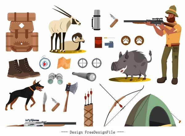 Hunting elements hunter tools animals vector design