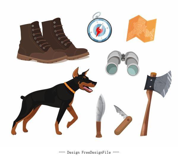 Hunting job elements dog personal tools sketch vector