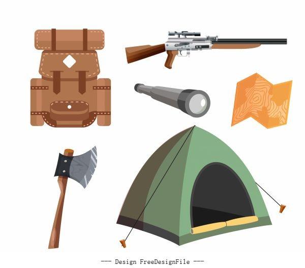 Hunting job elements personal utensils vector set