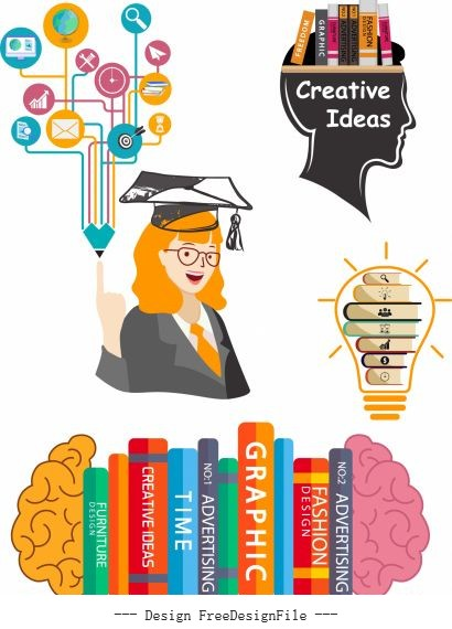 Idea concept elements book brain lightbulb vector