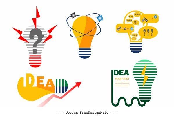 Idea concept elements colored flat lightbulb vector