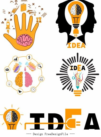 Idea concept elements colored flat symbols design vector