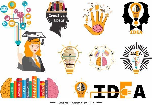 Idea elements colored flat symbols vector set