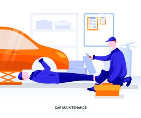 Illustration car maintenance vector