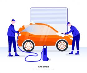 Illustration car wash vector