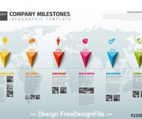 Infographic layout with multicolored markers and map vector