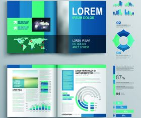 Information icon and color brochure flyer template vector